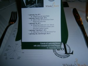 Menu of Friends of Laphroaig Dinner
