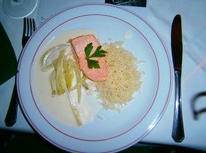 Salmon Steak with Fennel-Sour-Cream-Ragout and Lemon Rice to Quarter Cask Laphroaig