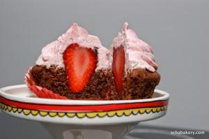 Chocolate Strawberry Surpise Cupcake | schabakery.com