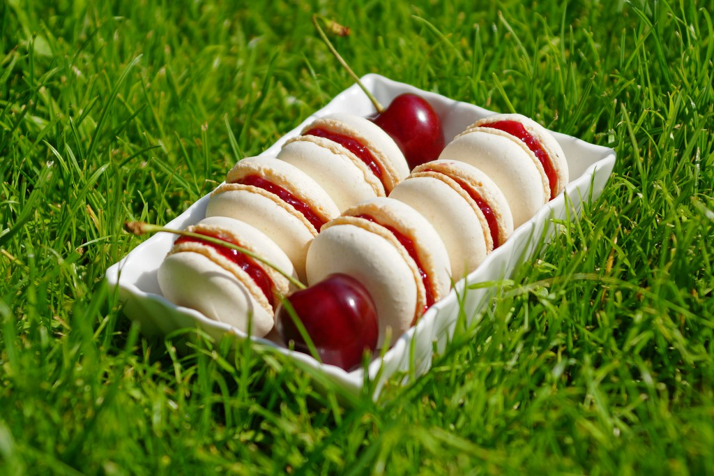Gewurztraminer Cherry Macarons | schabakery.com