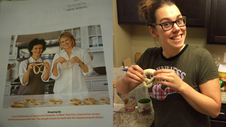 Martha Stewart holding up a pretzel   schabakery.com